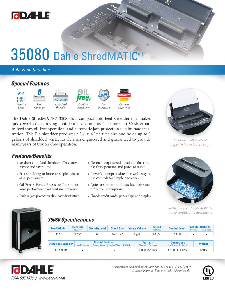 Dahle 35080 ShredMATIC® Product Sheet