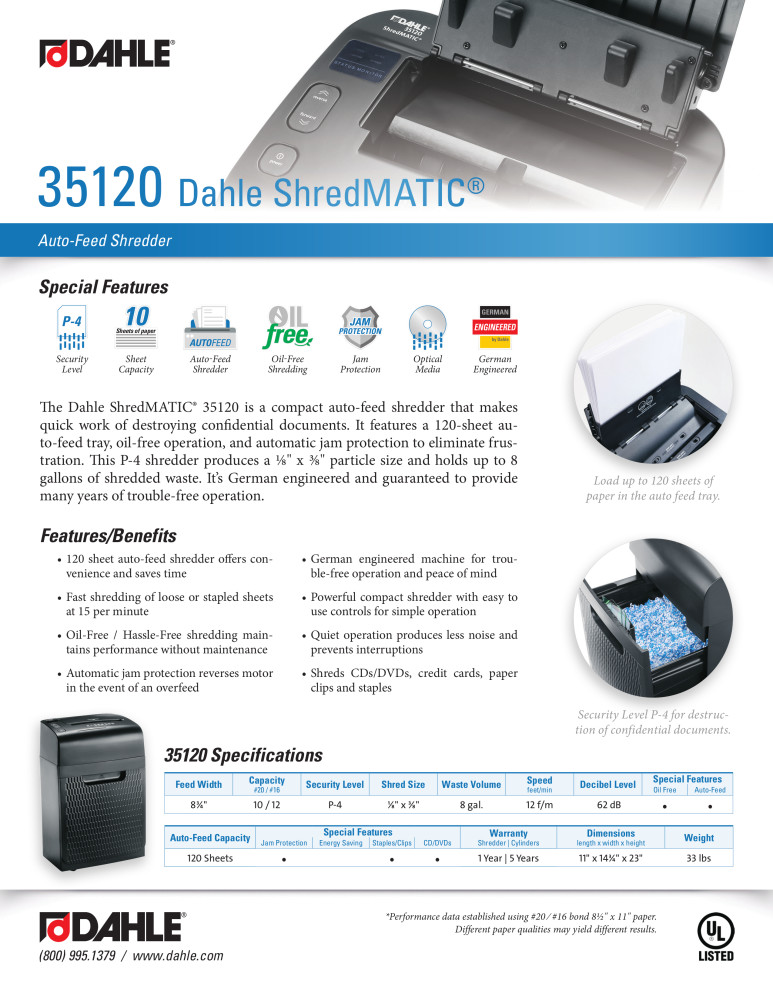 Dahle 35120 ShredMATIC® Product Sheet