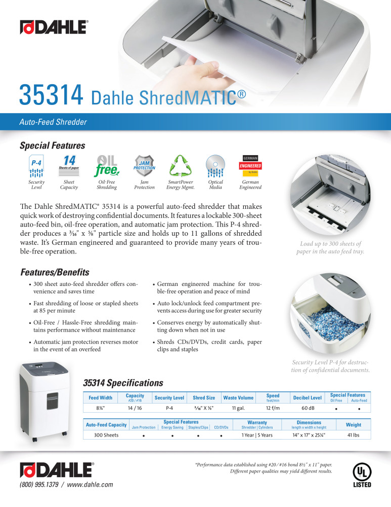 Dahle 35314 ShredMATIC® Product Sheet